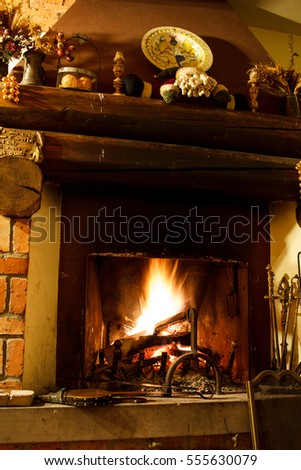 Warm fireplace in winter time