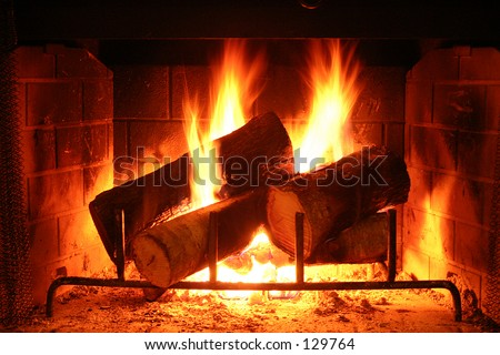 Warm Fireplace - lighter shot - stock photo