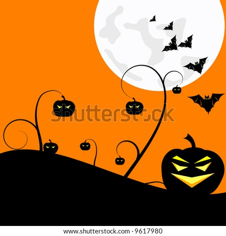 warm Halloween background with pumpkins and bats under a big bright moon - stock photo