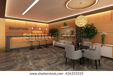 Warm Hotel Lobby with Wood Wall 3d rendering