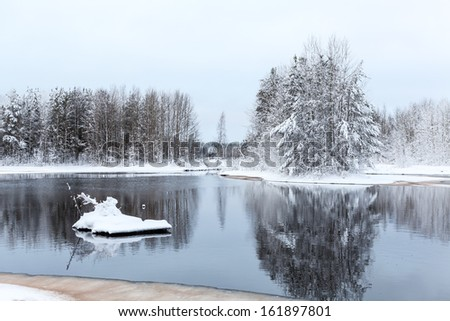 Warm lake in forest during strong freeze