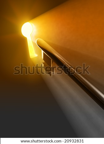 Warm light passing through a keyhole. Digital illustration. - stock photo