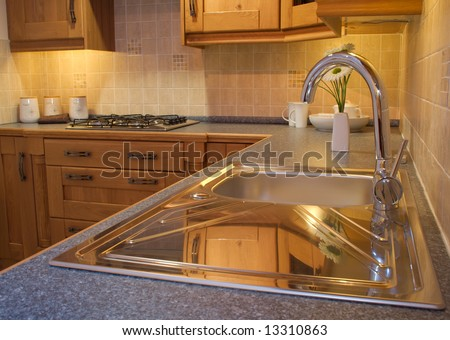Warm Modern Contemporary Kitchen Design Tap Stock Photo (Royalty ...