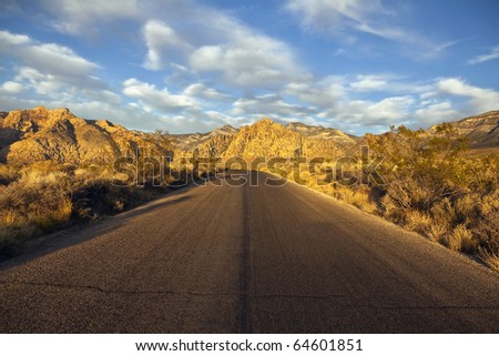 Warm morning light at Red Rock National Conservation area near Las Vegas Nevada - stock photo