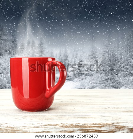 warm red mug  - stock photo
