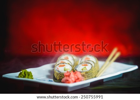 Warm roll chinese food - stock photo