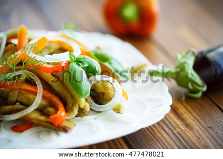 warm salad of roasted eggplant with peppers