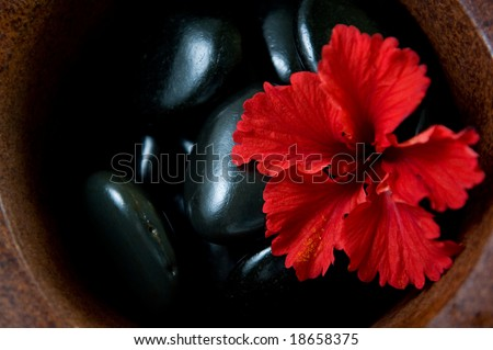 warm stone spa therapy collection - stock photo