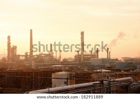 Warm Sunny Evening at Industrial Complex - stock photo