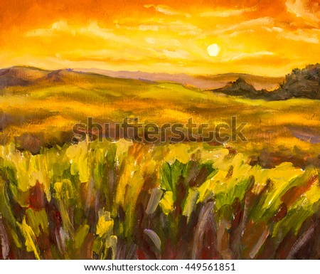 Warm sunset in mountains closeup landscape artistic painting background.
