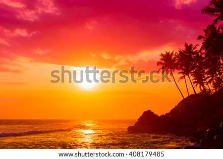 Warm sunset on tropical beach with palm trees silhouettes - stock photo