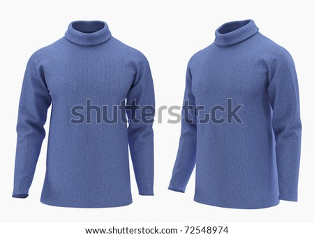 Warm sweater with a collar isolated on white with clipping path. Collection Clothing.