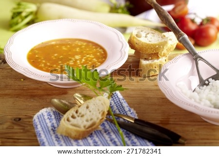 Warm Tomato Soup with European Summer Beer Radish - stock photo