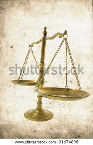 Warm Tone Brass Scale in Grunge Style - stock photo