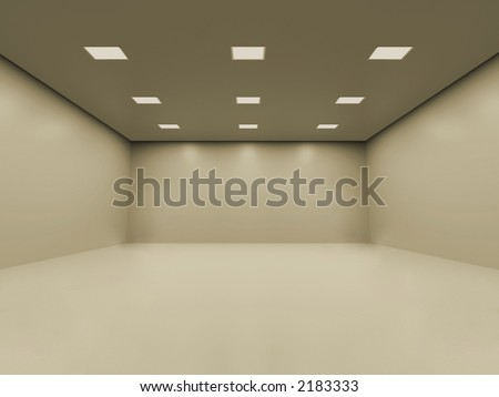 Warm white empty room with smooth homogeneous ceiling lighting. You can place your objects inside - stock photo