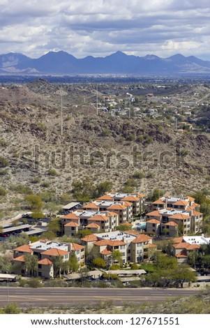 Warm Winter Day in Greater Phoenix Mountain Housing Community, Arizona - stock photo