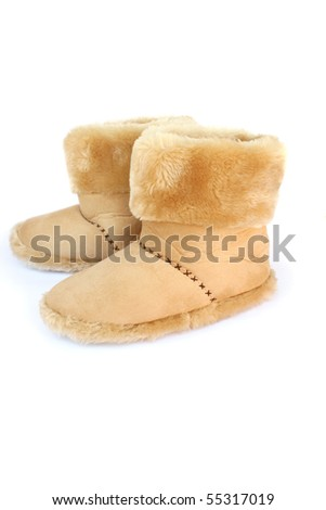 white old brown boots isolated on boots isolated on white