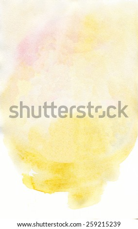 Warm yellow watercolor textured template background.  Artistic illustration for various designs.