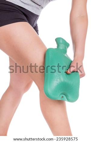 Warmer water on the knee. Sports injuries. - stock photo