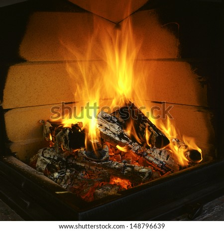 warming fire in the fireplace - stock photo