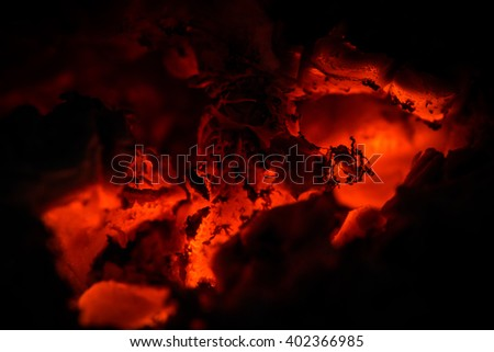 Warming up the cold winter nights. A macro shot of the fireplace. - stock photo
