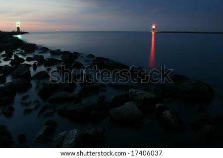 Warnemuende harbor - stock photo