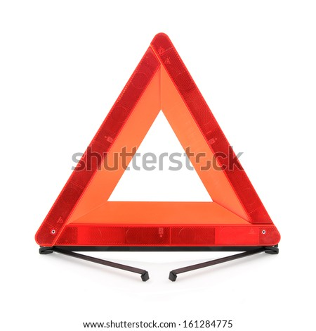 Warning accident traffic sign. Red triangle isolated on a white background.