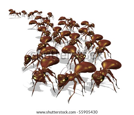 Warning! An army of ants is headed for your picnic - 3D render. - stock photo