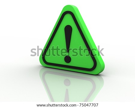 warning attention sign with exclamation mark symbol isolated in white background - stock photo