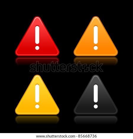 Warning attention sign with exclamation mark web 2.0 button. Triangular shape with shadow on gray background. Bitmap copy my vector ID: 61556407 - stock photo
