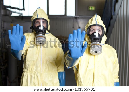 Warning because of hazard - stock photo