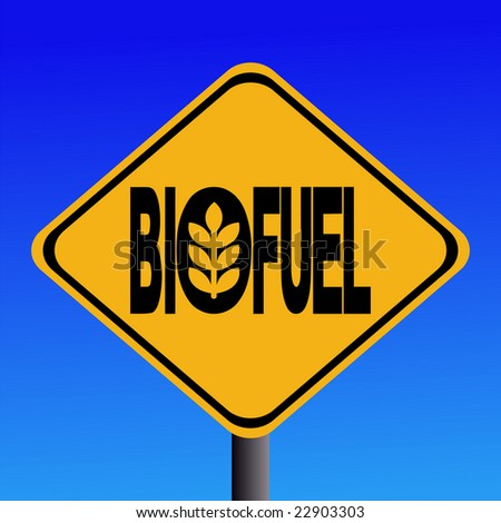 Warning Biofuel sign with cereal symbol illustration JPG - stock photo