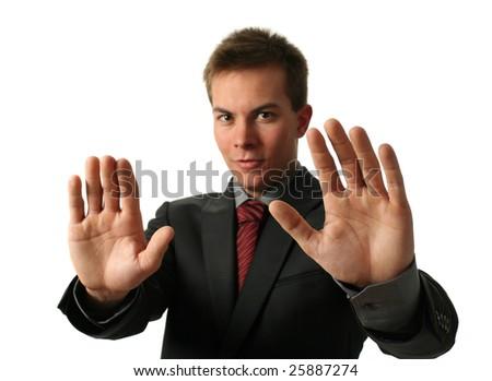 Warning businessmen holding his palms up isolated on white - stock photo