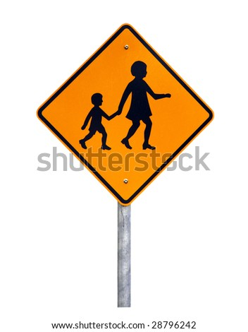 Warning Children Crossing - Current Australian Road Sign (reflective) - Isolated on White