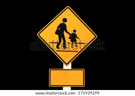 warning children signs school/ warning school zone traffic sign on black  background - stock photo