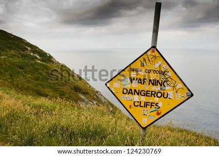 Warning Dangerous Cliffs, Howth, Fingal Co, Dublin, Ireland - stock photo