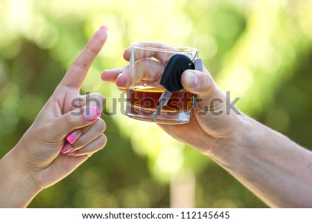 Warning - Do not drink when you drive ! - stock photo