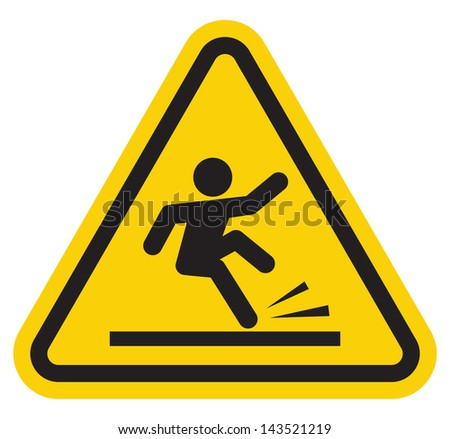 warning falling off the stairs sign - stock photo