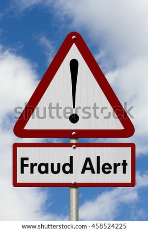 Warning Fraud Alert Highway Road Sign,  Red and White Warning Highway Sign with words Fraud Alert with sky background, 3D Illustration