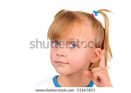 Warning from a cute little girl - stock photo