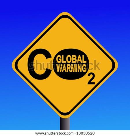 warning Global warming CO2 emissions sign illustration JPG - stock photo