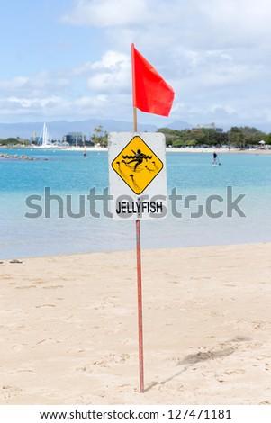 Warning  jellyfish sign at the beach, Hawaii - stock photo