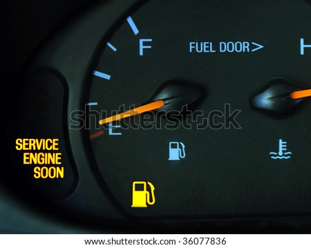 Warning Lights on a car. - stock photo