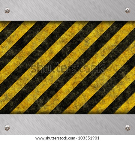 warning metal background - stock photo
