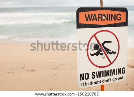 Warning No Swimming Sign - stock photo