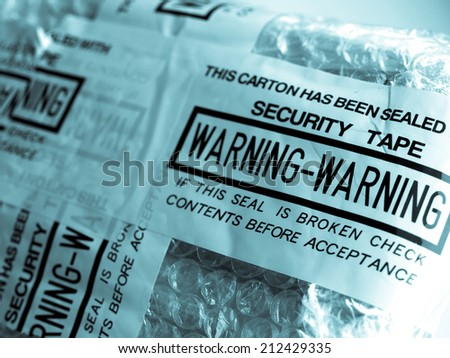Warning - packet sealed with security tape seal - cool cyanotype