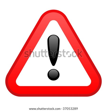 Warning Red Triangular Sign - stock photo