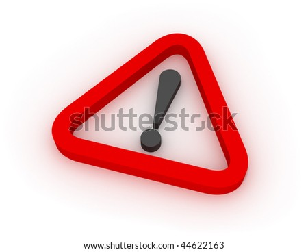 Warning Red Triangular Sign 3D - stock photo