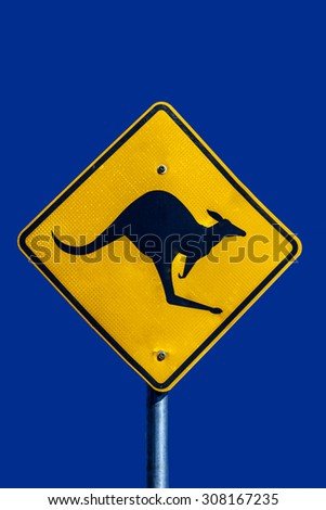 Warning road sign kangaroos