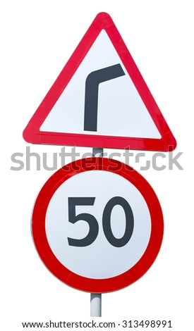 Warning road sign on a white background - stock photo